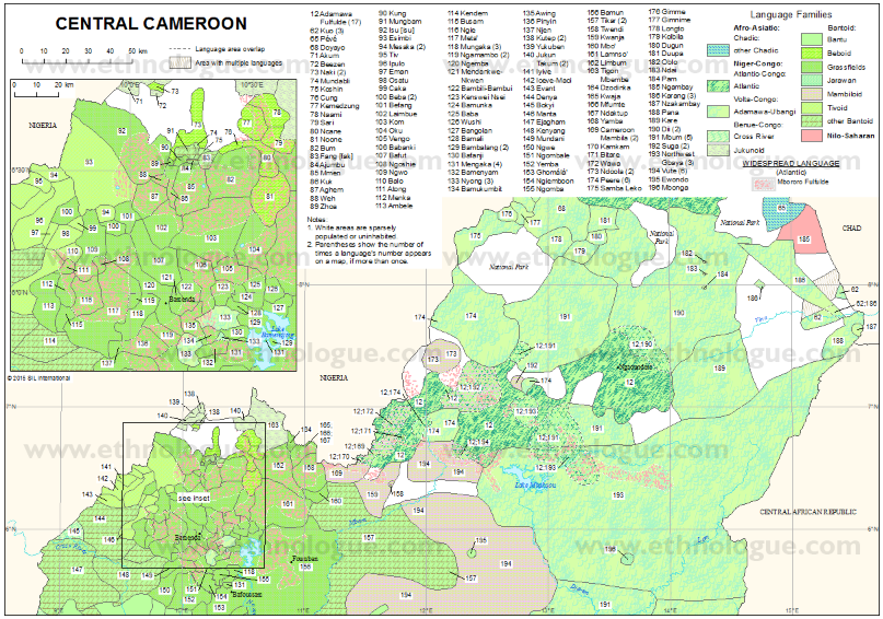 Central Cameroon Ethnologue map